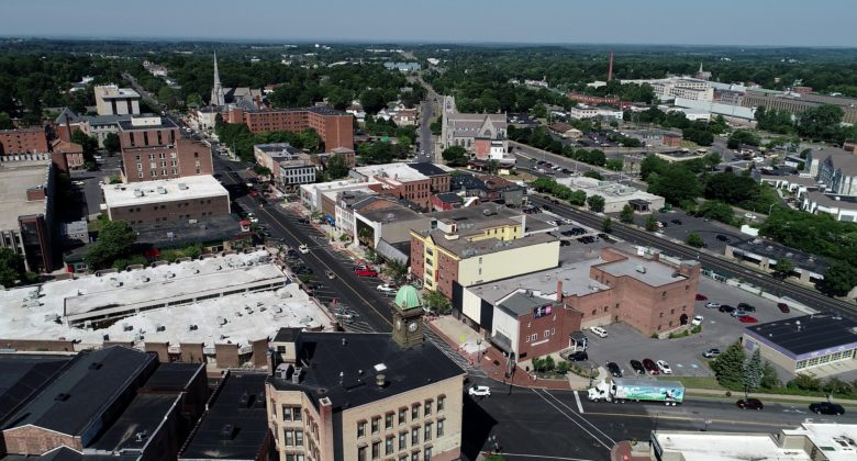 Aerial view of downtown Auburn, NY.